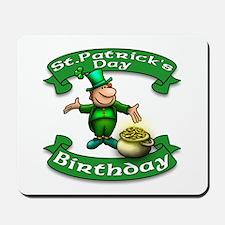 St. Patrick Birthday Leprechaun Mousepad