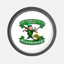 St. Patrick Birthday Leprechaun Wall Clock