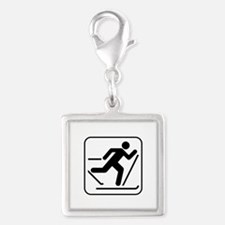 Cross Country Skiing Sports Silver Square Charm