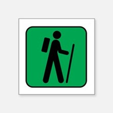 "Hiking Hiker Sports Square Sticker 3"" x 3"""