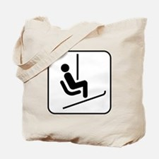 Snow Skiing Chair Lift Tote Bag