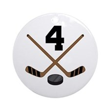 Hockey Player Number 4 Ornament (Round)