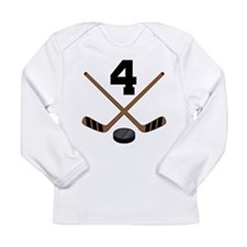 Hockey Player Number 4 Long Sleeve Infant T-Shirt
