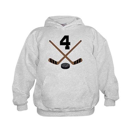 Hockey Player Number 4 Kids Hoodie