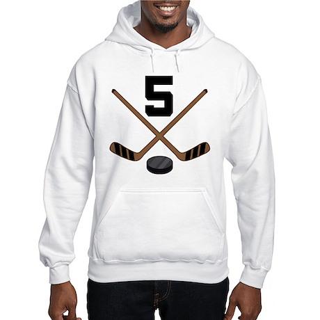Hockey Player Number 5 Hooded Sweatshirt