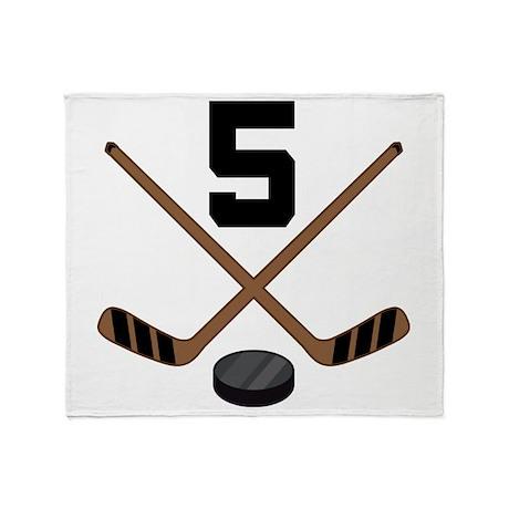Hockey Player Number 5 Throw Blanket