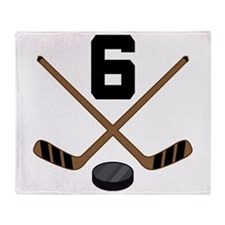 Hockey Player Number 6 Throw Blanket