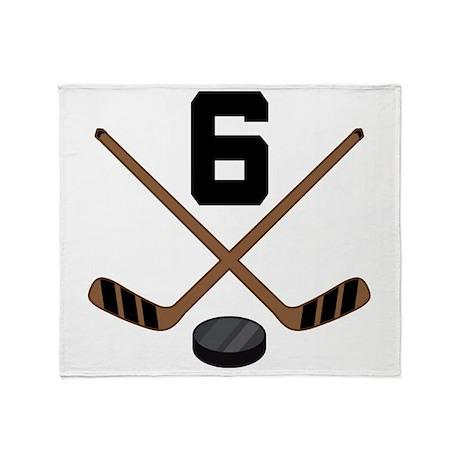 Hockey Player Number 6 Throw Blanket