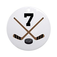 Hockey Player Number 7 Ornament (Round)