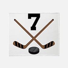 Hockey Player Number 7 Throw Blanket