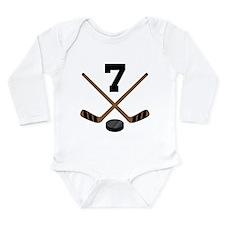Hockey Player Number 7 Long Sleeve Infant Bodysuit