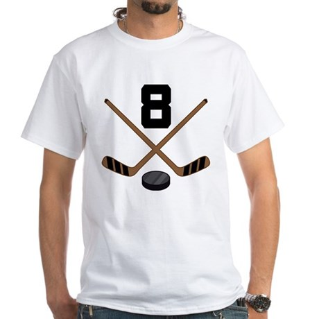 Hockey Player Number 8 White T-Shirt