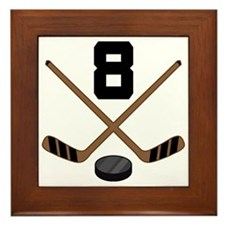 Hockey Player Number 8 Framed Tile