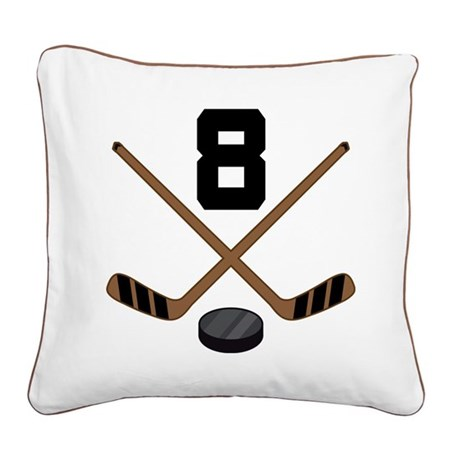 Hockey Player Number 8 Square Canvas Pillow