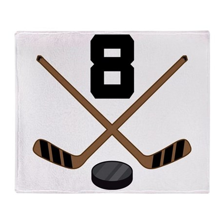 Hockey Player Number 8 Throw Blanket