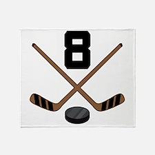 Hockey Player Number 8 Throw Blanket
