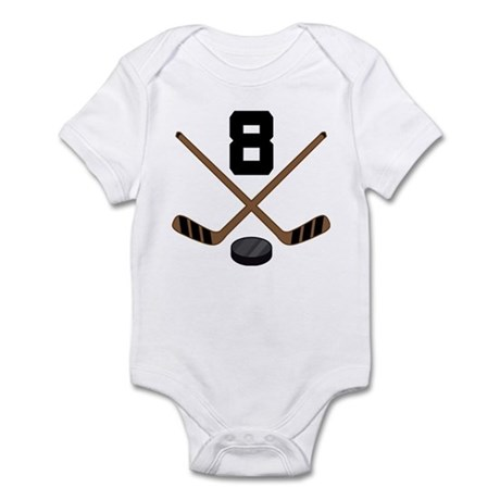 Hockey Player Number 8 Infant Bodysuit