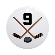 Hockey Player Number 9 Ornament (Round)
