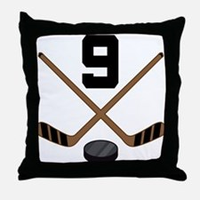 Hockey Player Number 9 Throw Pillow