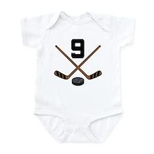 Hockey Player Number 9 Infant Bodysuit