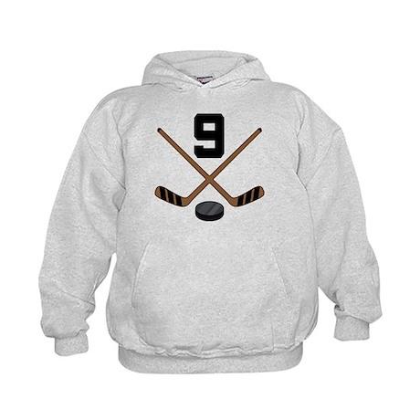 Hockey Player Number 9 Kids Hoodie