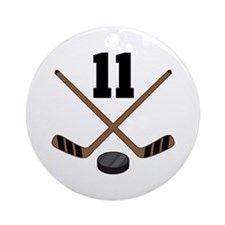 Hockey Player Number 11 Ornament (Round)