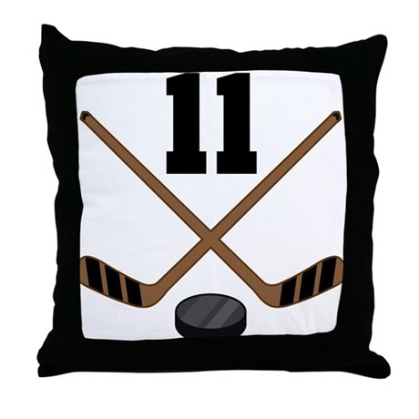 Hockey Player Number 11 Throw Pillow