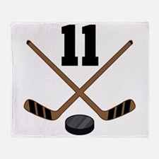 Hockey Player Number 11 Throw Blanket