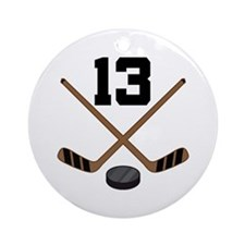 Hockey Player Number 13 Ornament (Round)