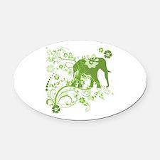 Elephant Swirls Green Oval Car Magnet