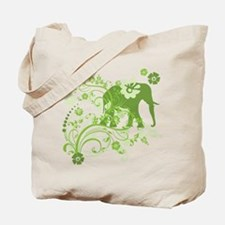 Elephant Swirls Green Tote Bag