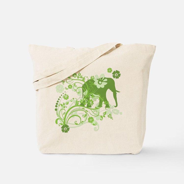 Elephant Swirls Green Tote Bag