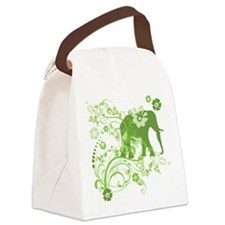 Elephant Swirls Green Canvas Lunch Bag