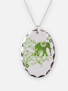 Elephant Swirls Green Necklace
