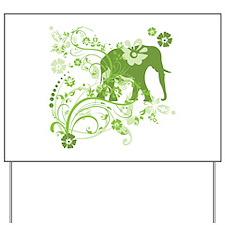 Elephant Swirls Green Yard Sign