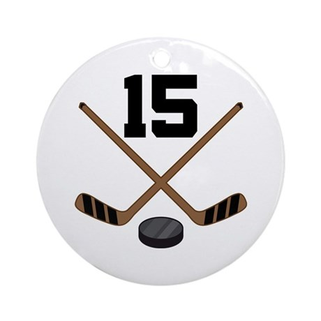 Hockey Player Number 15 Ornament (Round)