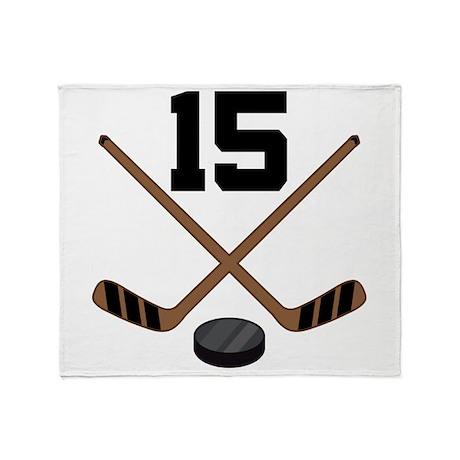 Hockey Player Number 15 Throw Blanket