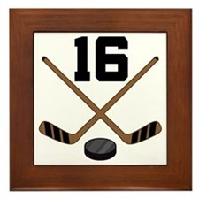 Hockey Player Number 16 Framed Tile