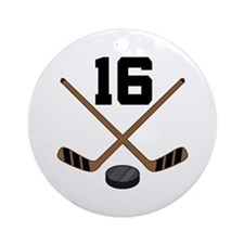 Hockey Player Number 16 Ornament (Round)