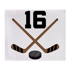 Hockey Player Number 16 Throw Blanket