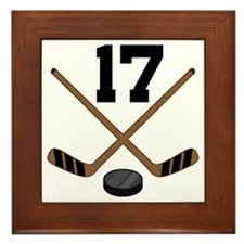 Hockey Player Number 17 Framed Tile