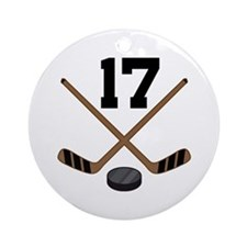 Hockey Player Number 17 Ornament (Round)