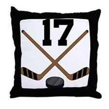 Hockey Player Number 17 Throw Pillow