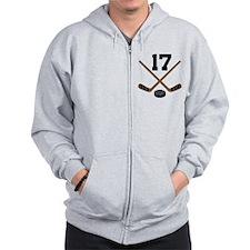 Hockey Player Number 17 Zip Hoodie