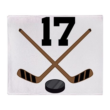 Hockey Player Number 17 Throw Blanket