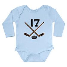 Hockey Player Number 17 Long Sleeve Infant Bodysui