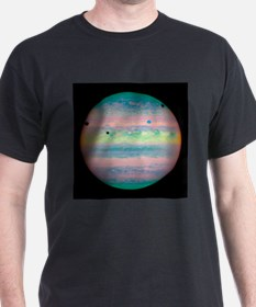 Jupiter with moons and their shadows - T-Shirt