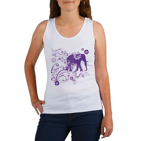 Elephant Swirls Purple Women's Tank Top