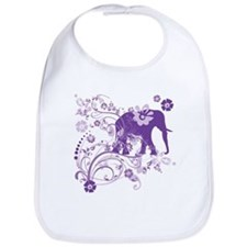 Elephant Swirls Purple Bib