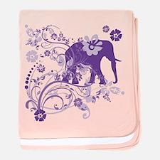 Elephant Swirls Purple baby blanket